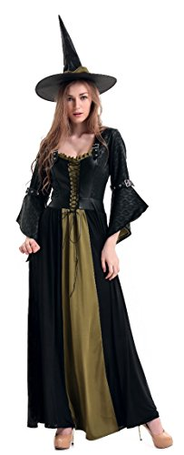 [Killreal Women's Sexy Salem Witch Costume Halloween Party Costume Classic Witch Long Dress Green] (Salem Witches Costumes)