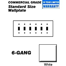 Leviton 80736-W 6-Gang Toggle Device Switch Wallplate, Thermoplastic Nylon, Device Mount, White
