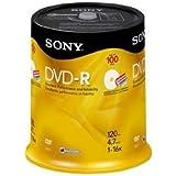 Sony 16x 4.7GB Inkjet Printable Blank DVD-R 100-Pack Spindle