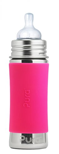 Pura Kiki Stainless Infant Bottle Stainless Steel with Natural Vent Nipple, 11 Ounce, Pretty Pink, 3 Months+