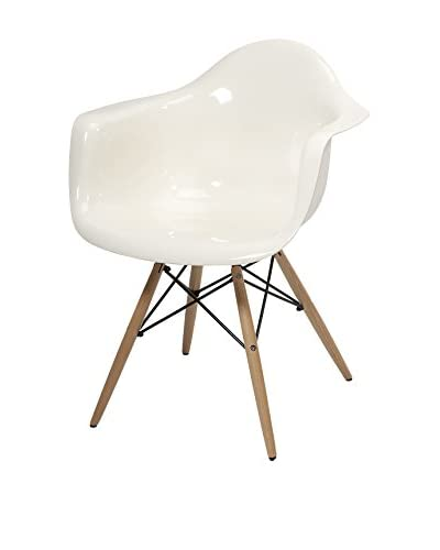 Arturo Acrylic Chair with Wooden Legs, White
