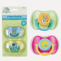 Baby Looney Tunes 2 Pacifiers Bpa Free, Blue,yellow,green,pink - 1
