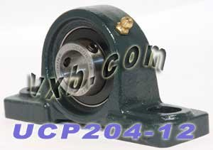 UCP204-12 Pillow Block Mounted Bearing, 2 Bolt, 3/4