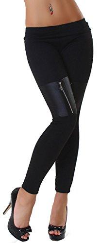 Fashion & Vogue Damen Leggings mit Reißverschluß an den Beinen
