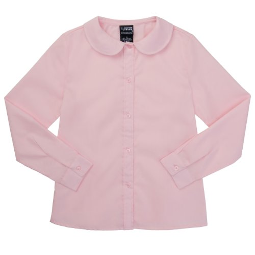 French Toast School Uniforms Long Sleeve Peter Pan Blouse Girls Pink 3T front-445310