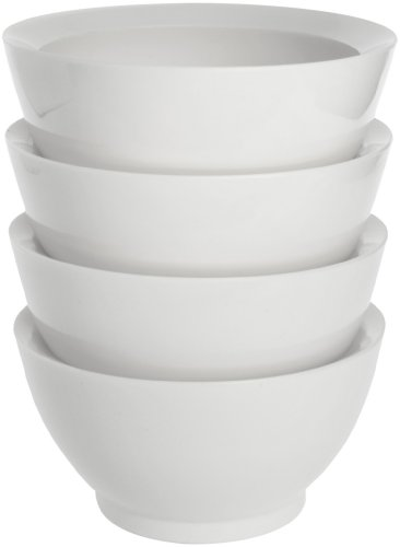 CaliBowl Non-Spill 20-Ounce Original Bowl with Non-Slip Base, Set of 4, White