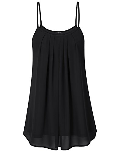Laksmi Women's Summer Casual Front Pleat Cool Tank Top (Large, Black) (Heather Coffee Cup compare prices)