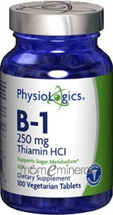 B-1 Thiamine HCL 250 mg 100 Vegetarian Tablets by PhysioLogics