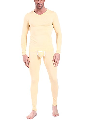 Belle Grace Men's Solid Color Modal Long John 2 pcs Thin Thermal Underwear Set (XL, Nude) (Ultra Club Thermal compare prices)