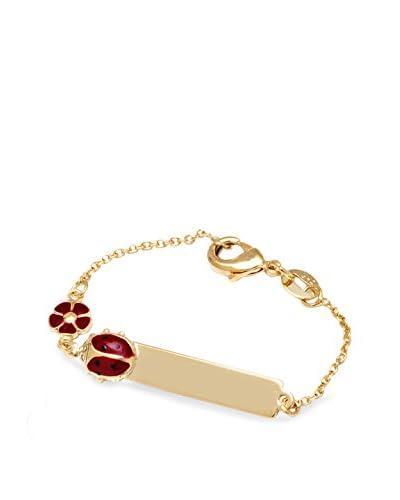 Sweet & Soft Gold and Red Ladybug Flower Id Bracelet