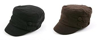 Women's Military Cadet Style Winter Hat P241 (2 pcs BLK+BRN)