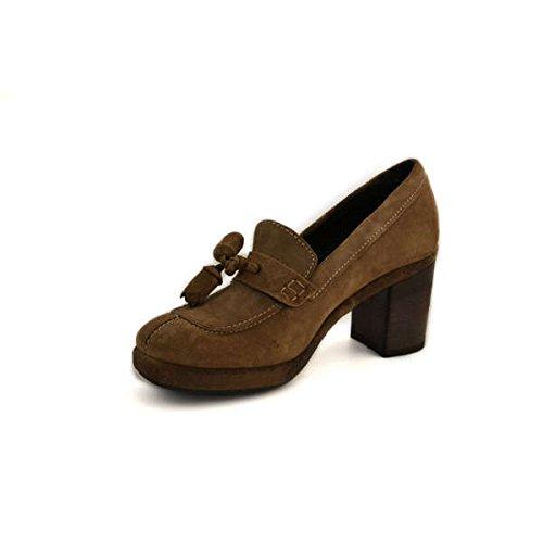Scarpe donna Khriò numero 36 modello mocassino con tacco in camoscio beige 22453VLBEIGE
