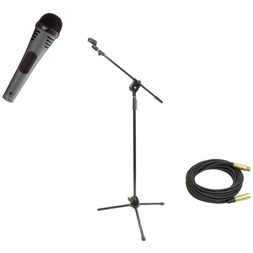 Pyle Mic And Stand Package - Pdmik2 Professional Moving Coil Dynamic Handheld Microphone - Pmks3 Tripod Microphone Stand W/ Extending Boom - Ppmcl50 50Ft. Symmetric Microphone Cable Xlr Female To Xlr Male