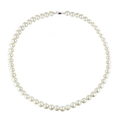 16 inch 7.5-8 mm Cultured Freshwater White Off-Round Pearl Necklace, High Grade Stainless Steel Clasp w/Gift Box