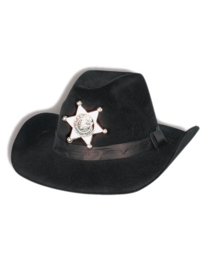 Black Cowboy Cow Boy Felt Costume Sherriff Sheriff Hat with Badge