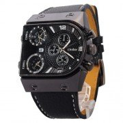 OULM Mens Oversize 3 Time Zone Military Sport Leather Quartz Watch