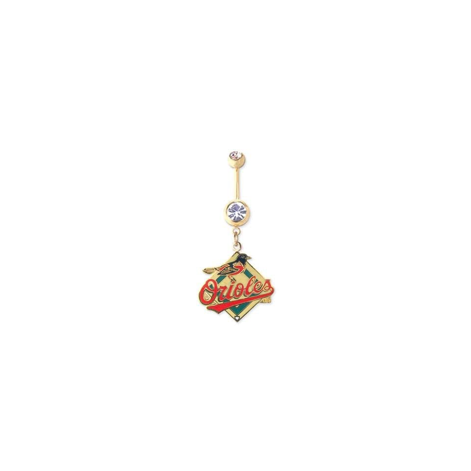 Baltimore Orioles 316L Stainless Steel Belly Ring with Cubic Zirconia