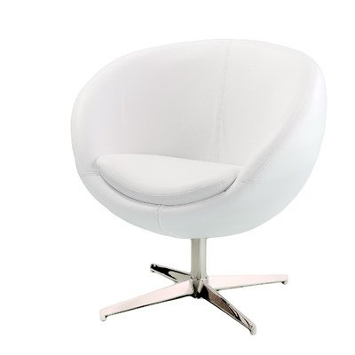 Best Selling Modern Leather Round Back Chair, White (Dcor Design Tub Chair compare prices)