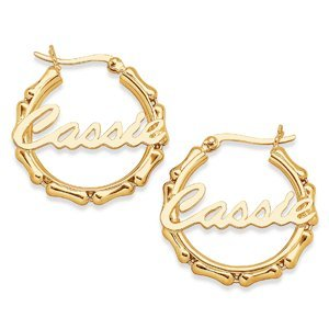 Personalized 18Kt Gold Over Sterling Silver Bamboo Style Script Hoop Earrings