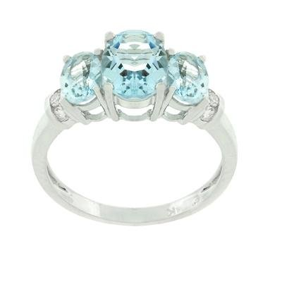 1.30Ct Real Aquamarine and Diamond Ring, Sterling Silver, Size 7