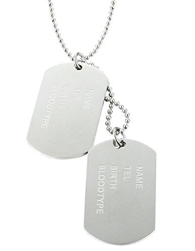 jstyle bijoux collier homme acier inoxydable plaque militaire nom pr nom pendentif dog tag style. Black Bedroom Furniture Sets. Home Design Ideas
