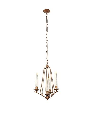 Varaluz Madison 4-Light Chandelier, Hammered Ore/Gold Mercury Glass
