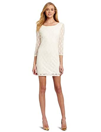 Star Vixen Women's 3/4 Sleeve V-Back Lace Sheath, Ivory Solid, Small