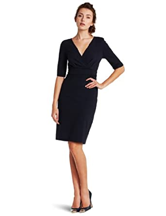 Three Dots Women's V-neck Dress With Satin Trim, Night Iris, Medium