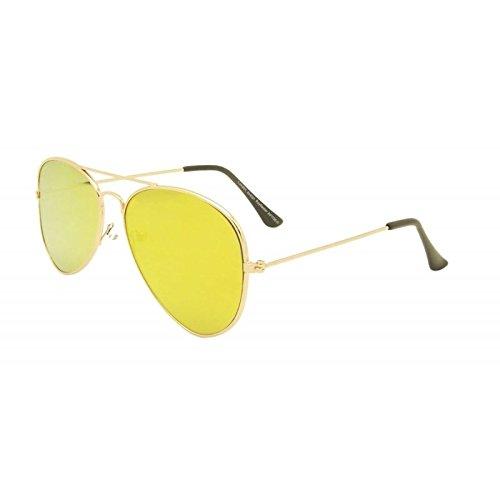 Piatto Unisex Giallo Lens Occhiali da sole Aviator stile anni 80moda metallo Farme Oro Rim occhiali mondo Eye Wear