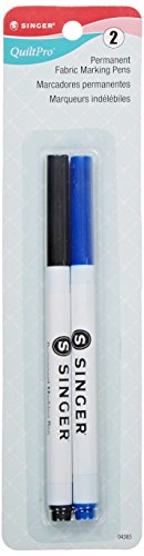 Singer 04385 Fine Point Permanent Fabric Marking Pen, Black and Blue, 2-Pack