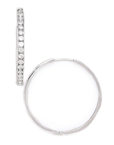 14ct White Gold CZ Hoop Hinged Earrings - Measures 33x34mm