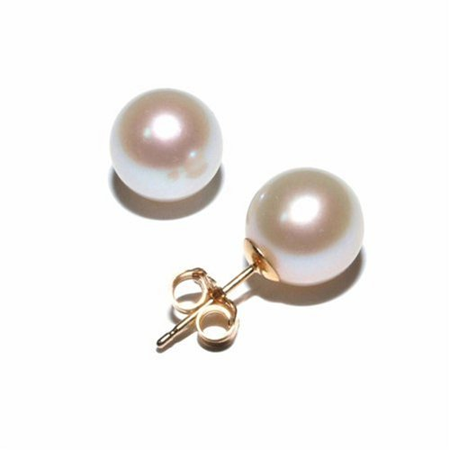 8 - 8.5mm Cultured Round Pearl Stud Earrings 14K Yellow Gold