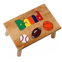 Read About Personalized Sports Puzzle Stool - Color: Natural