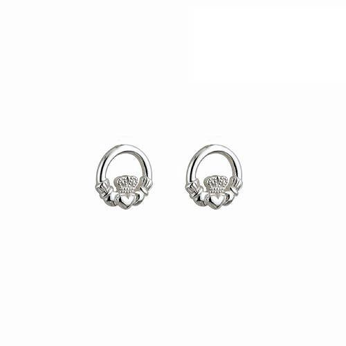 Sterling Silver Childs Irish Claddagh Stud Earrings
