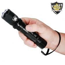 Police Force 5 Million Volt Rechargeable Tactical Flashlight Stun Gun W/ 160 Lumen Bright Light & Holster