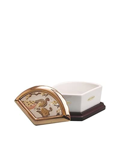 Dynasty Gallery Chokin Art Peacock Fan Box, Ivory