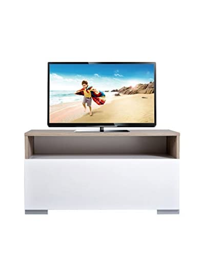 Kenyap Mueble Para TV Decoflex Blanco / Marrón Claro 90 x 49 x 45