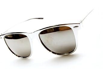 Retro Bright Horn Rimmed Sunglasses with Colorful Mirrored Lenses - UV400 (Chrome/Mirror)