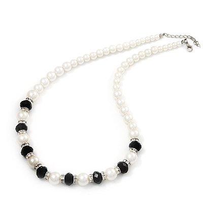 Black/White Glass Pearl Classic Necklace - 48cm Length (4cm extender)