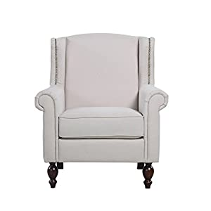 Classic Scroll Arm Fabric Living Room Chair with Nailhead Trim
