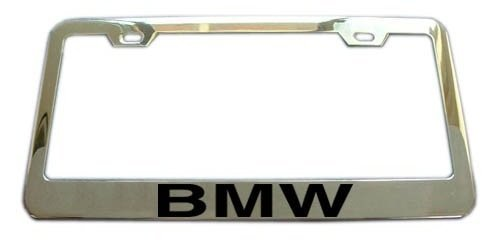 bmw-chrome-license-plate-frame-with-black-text