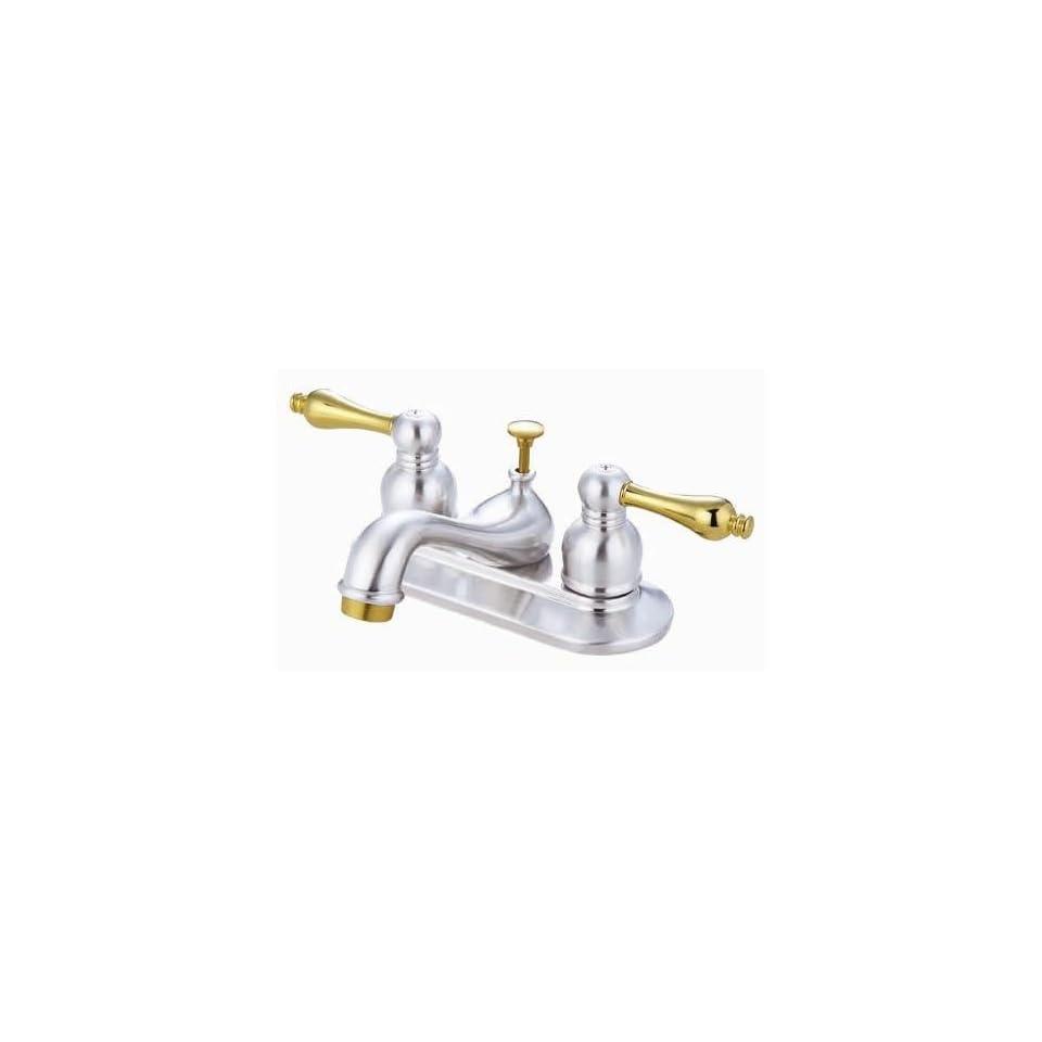 Elizabeth Centerset Faucet with Double Porcelain Lever Handles Finish Polished Chrome/Polished Brass