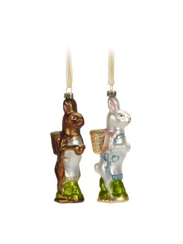 Set 2 Vintage Rabbit with Basket Ornaments (Set of 2)