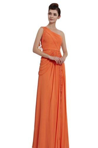 CharliesBridal One Shoulder Floor Length Evening Dress - XL - Orange