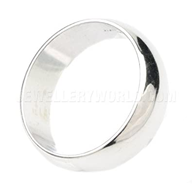 7mm 18ct White Gold D-Shape Wedding Ring