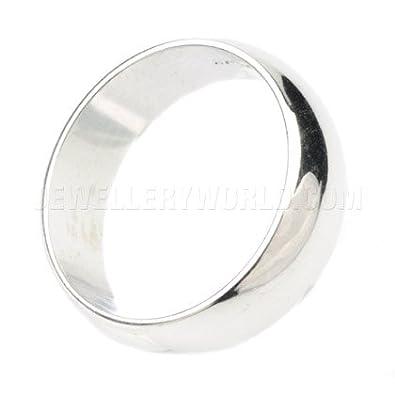 7mm 18ct White Gold D-Shape Wedding Ring