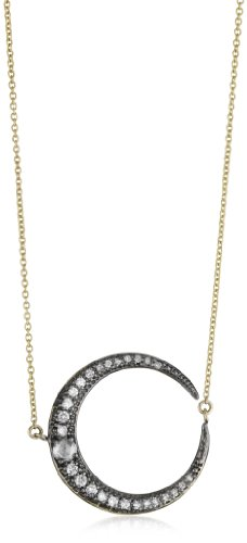 Mizuki 14k Diamond Crescent Necklace with Rose Diamond Center, 17
