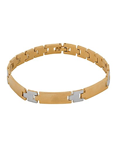 Memoir Dual Tone Gold And Silver, Interlinked Design Bracelet For Men And Women