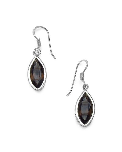 Voylla 925 Silver Drop Earrings Studded With Smoky Topaz Stones (multicolor)