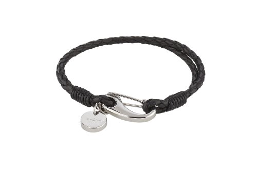 Alraune Flavia 103626 Unisex Bracelet Black Leather 2 Strands Stainless Steel Clasp 18 cm